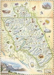 Xplorer Maps Glacier National Park Map - Authentic Hand Drawn Map Art of Glacier - Lithographic Fine-Art Print