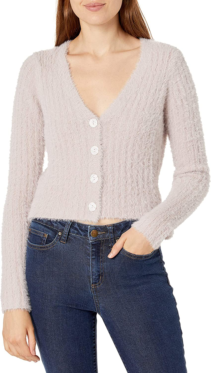 ASTR the label Women's Amanda Long Sleeve V-Neck Fitted Cardigan
