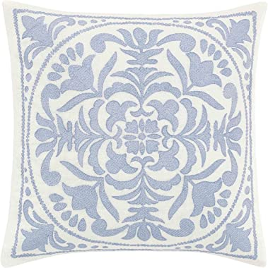 Laura Ashley Mila Throw Pillow, 18x18, Blue