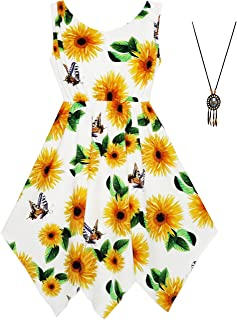 Sunny Fashion Girls Dress Flower Print Hanky Hem with Necklace