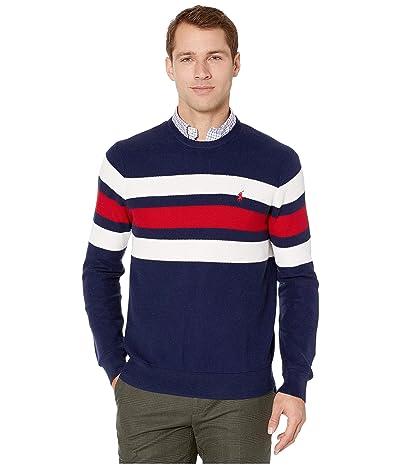 Polo Ralph Lauren Textured Stripe Crew Sweater (Newport Navy/Polo Sport Red/White) Men