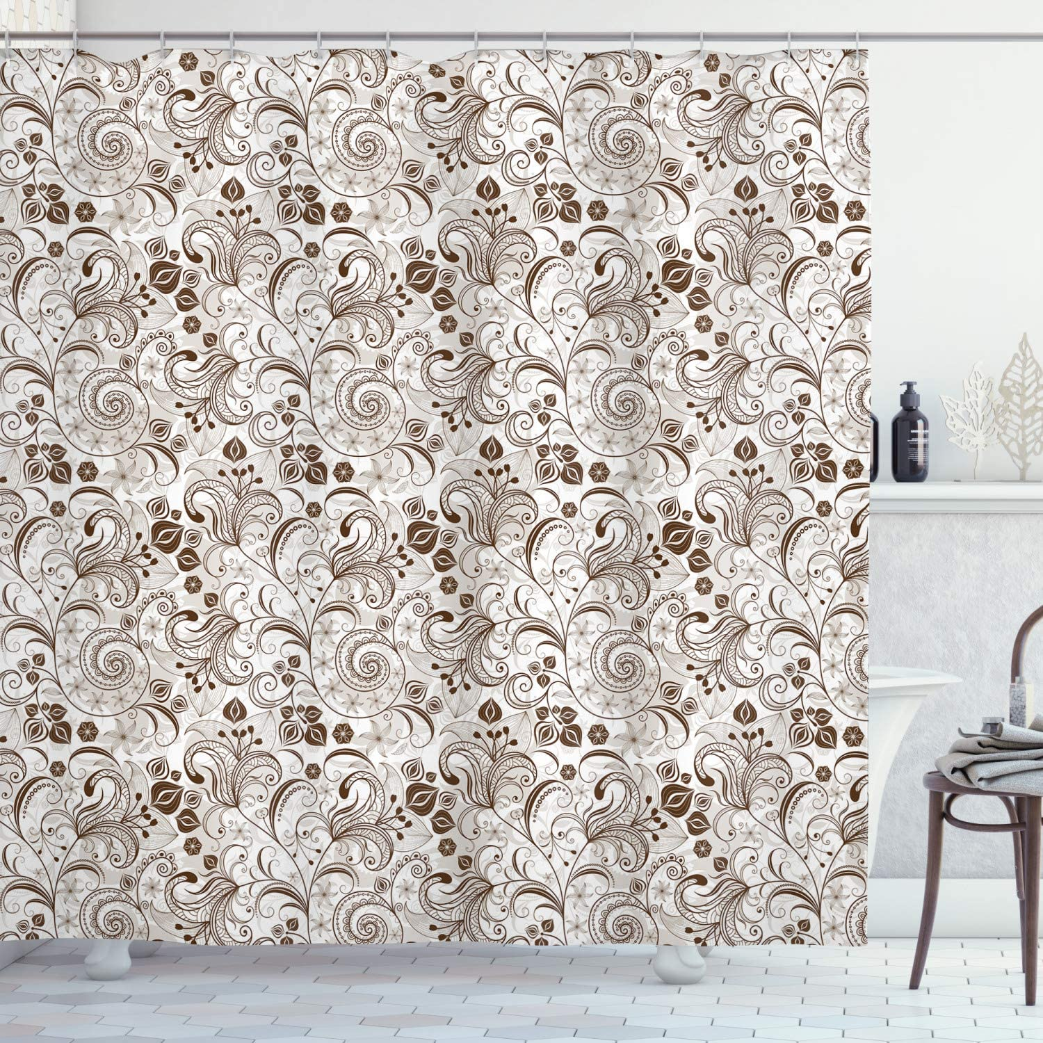 Ambesonne cheap Chocolate Shower Curtain Colorado Springs Mall Flowers Victorian Classical