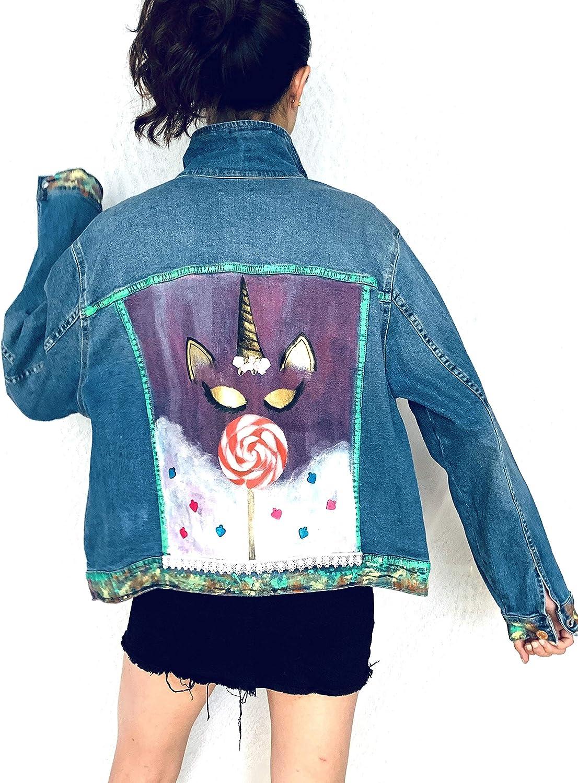 Women's Hand Painted Denim Jacket - Limited Edition, Funky Unicorn