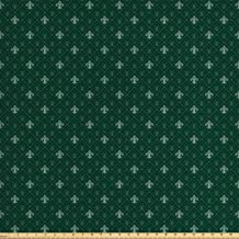 Ambesonne Fleur De Lis Fabric by The Yard, Baroque Pattern Medieval French Motifs Royal Ornate Classic, Decorative Fabric for Upholstery and Home Accents, 2 Yards, Dark Green