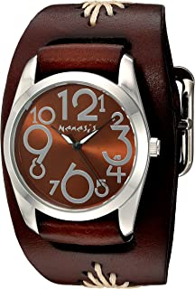 Nemesis Women's 'Showgirl Series' Quartz Stainless Steel and Leather  Watch, Color:Brown (Model: BBF109B)