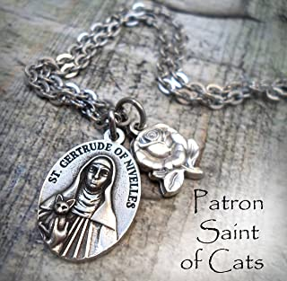St. Gertrude Charm Necklace, Saint Gertrude of Nivelles Keychain or Purse Clip, Patron St. of Cats and People Who Love Them