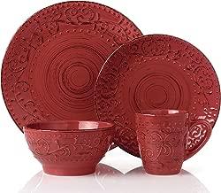 Lorren Home Trends LH430P 16 Piece Round Stoneware Distressed Dinnerware Set, Green/Red