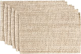 "Sweet Home Collection Trends Two Tone 100% Cotton Woven Placemat (6 Pack), 13"" x 19"", Eggshell"