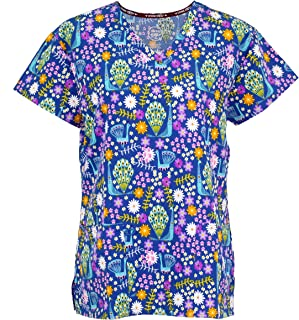 Women's Medical Nursing Top Patterned Multi Pocket Uniform Shirt