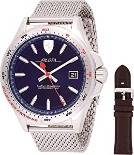 Ferrari Mens Quartz Watch, Analog Display and Stainless Steel Strap - 830491