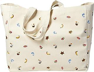 Sowel® Strandtasche bestickt, Shopper, Umhängetasche, Natur Baumwolle Canvas, 50 x 20 x 40 cm (LxBxH)