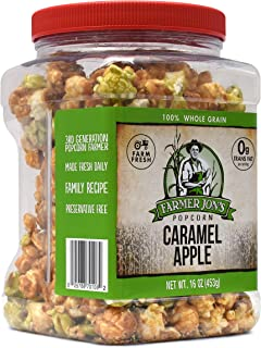 Farmer Jon's Caramel Apple Popcorn, 16oz Jar of Gourmet Popped Popcorn