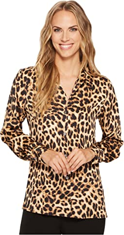 Vince Camuto - Long Sleeve Exotic Animal Button Down Blouse