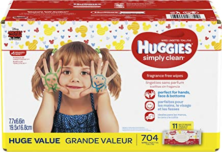 HUGGIES Simply Clean Fragrance-free Baby Wipes, Soft Pack (11-Pack,