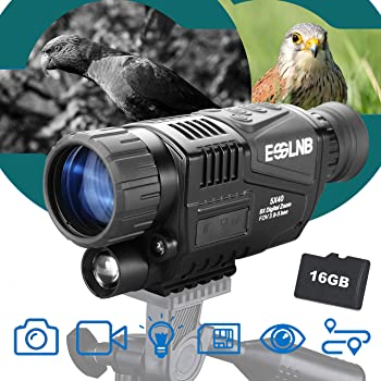 "ESSLNB 40mm Night Vision Monocular 5X Digital Infrared Monocular 1.5"" LCD Take Photos/Videos and Playback with 16G for Hunting Security Surveilla"