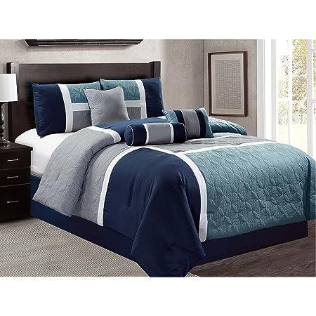 Sungai 7 Piece Luxury Bedding Set Purple Details about  /Luxlen Cal King