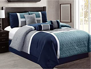 JBFF 7 Piece Luxury Quilted Patchwork Comforter Set, King, Navy