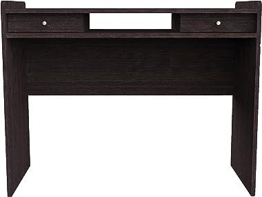 Furniture 247 - Scrivania moderna con 2 cassetti a scomparsa per ufficio/postazione di lavoro in rovere nero, nero (rovere), legno