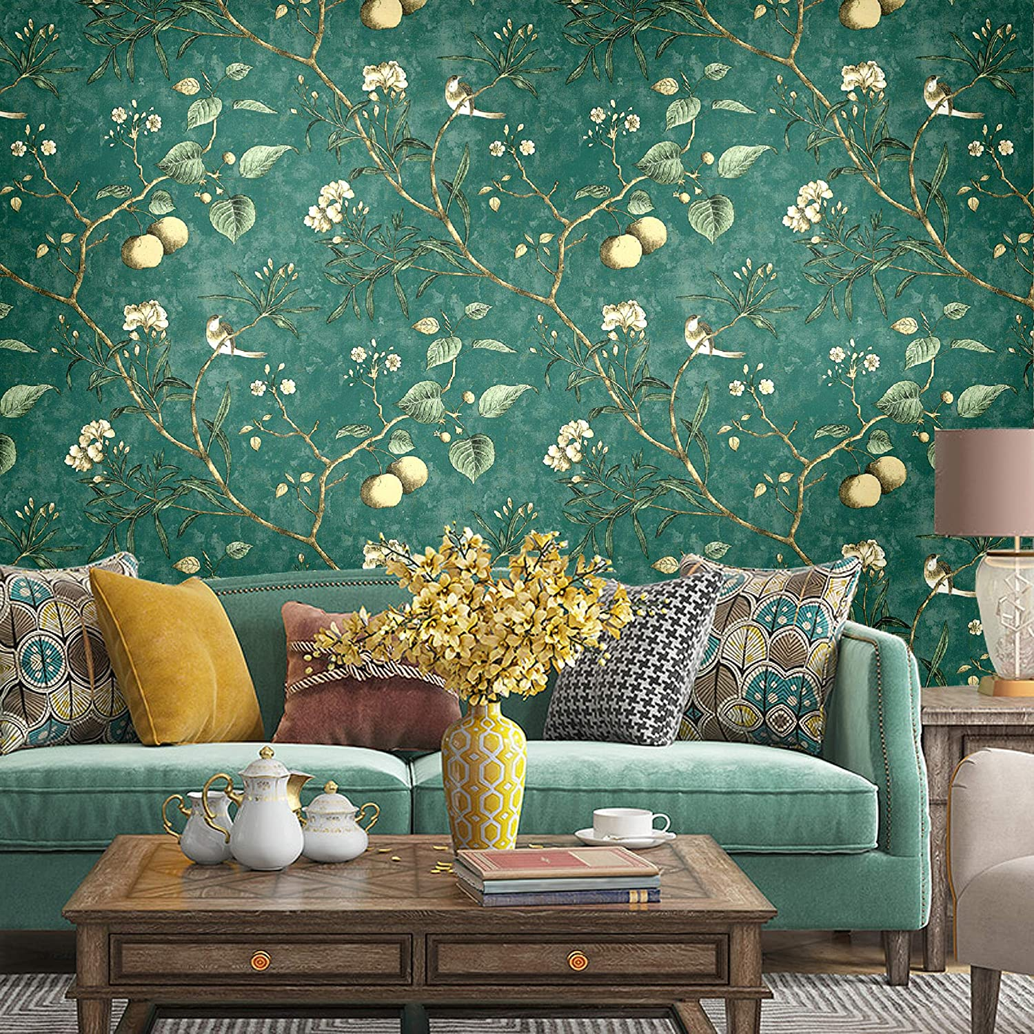 Buy Vintage Floral Apple Tree Wallpaper Wall Mural In Bathroom Kitchen Livingroom Large Size 57 Square Ft Roll 6313 Online In Italy B07yfpwvjw