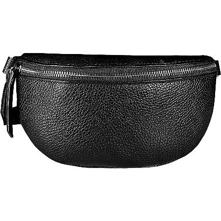 SKUTARI Leder Original Muzaka Classic, Unisex Bauch- und Umhängetasche aus echtem Leder mit extra Langen Gurt und Reißverschlussinnentasche, handgefertigt in Italien   14 x 27 x 8 cm (Schwarz)