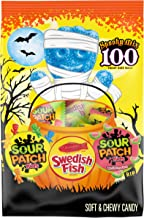 Original SOUR PATCH KIDS, SOUR PATCH KIDS Watermelon & SWEDISH FISH Halloween Candy Variety Pack, 100 Trick or Treat Size Packs