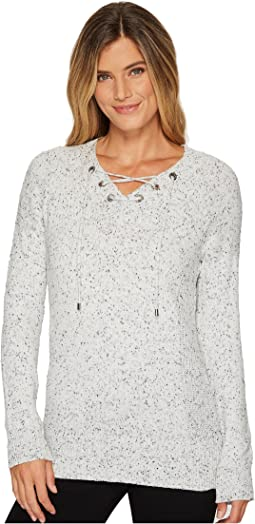 Calvin Klein - Flecked Lace-Up Sweater