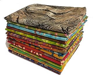 DL Batik Fabric Collection | Fat Quarter Bundle | Precut Quilting Cotton | Set of 17