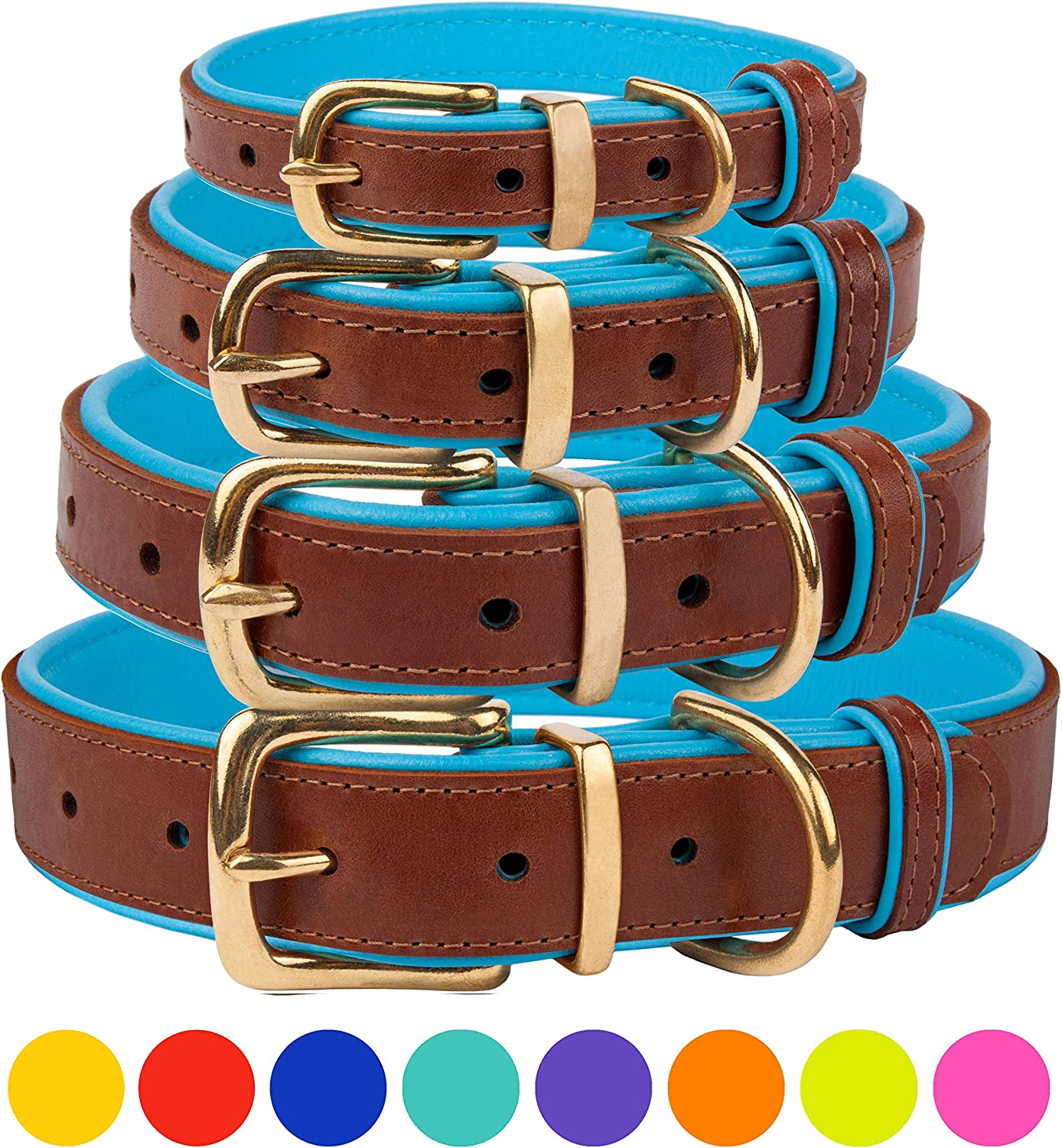 CollarDirect Leather Dog Collar Brass Buckle Soft Padded Puppy Small Medium Large Red Pink bluee Green Purple Yellow (Neck Fit 12 14 , Sky bluee)