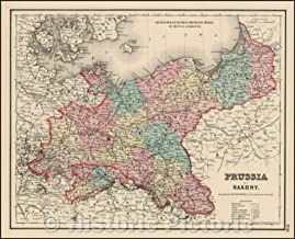 Historic Map - Prussia And Saxony, 1857, Joseph Hutchins Colton - Vintage Wall Art 44in x 36in