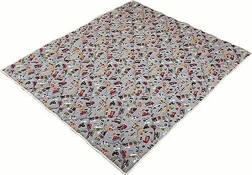 IDEENREICH Baby Krabbeldecke Krabbeltraum  Fahrzeuge  RUTSCHFEST   130x150cm   ideal als Spieldecke, Krabbeldecke und Laufgittereinlage