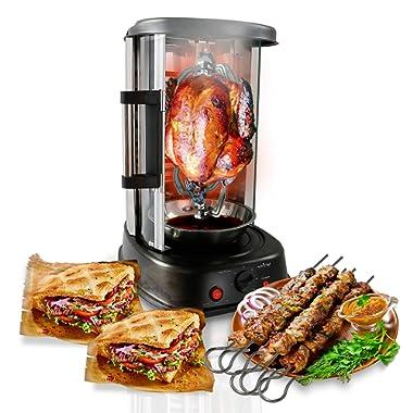 NutriChef Countertop Vertical Rotating Oven - Rotisserie Shawarma Machine, Kebob Machine, Stain Resistant & Energy Efficient W/ Heat Resistant Door, Includes Kebob Rack with 7 Skewers (PKRTVG34)