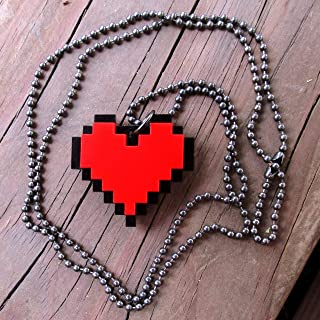 Red 8 Bit Pixel Heart Cosplay Necklace, Pixelated Point Graphic Gaming Life Container Pendant