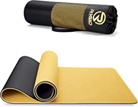 Yoga Mat 8mm - Eco Friendly TPE Non Slip Yoga Mats Double Face Gold Color Carrying Strap - Extra Thick Knees Supportive fo...