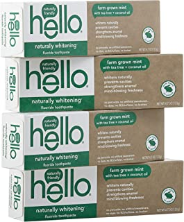 Hello Naturally Whitening Toothpaste with Fluoride - Vegan & SLS Free, Farm Grown Mint with Tea Tree Oil & Coconut Oil - 4...