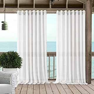 """Elrene Home Fashions Carmen Extra Wide Indoor/Outdoor Sheer Grommet Window Curtain Panel, 114"""" x 84"""" (1, White"""
