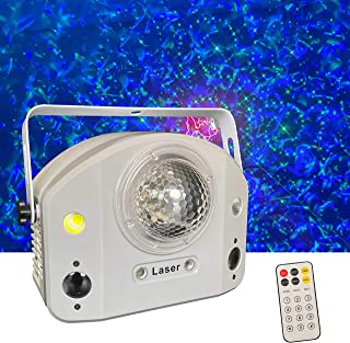 Party Light Show with 4 effects: Water Wave + Laser + 2 Gobo Patterns + Flash Strobe, complete party from a single device,...