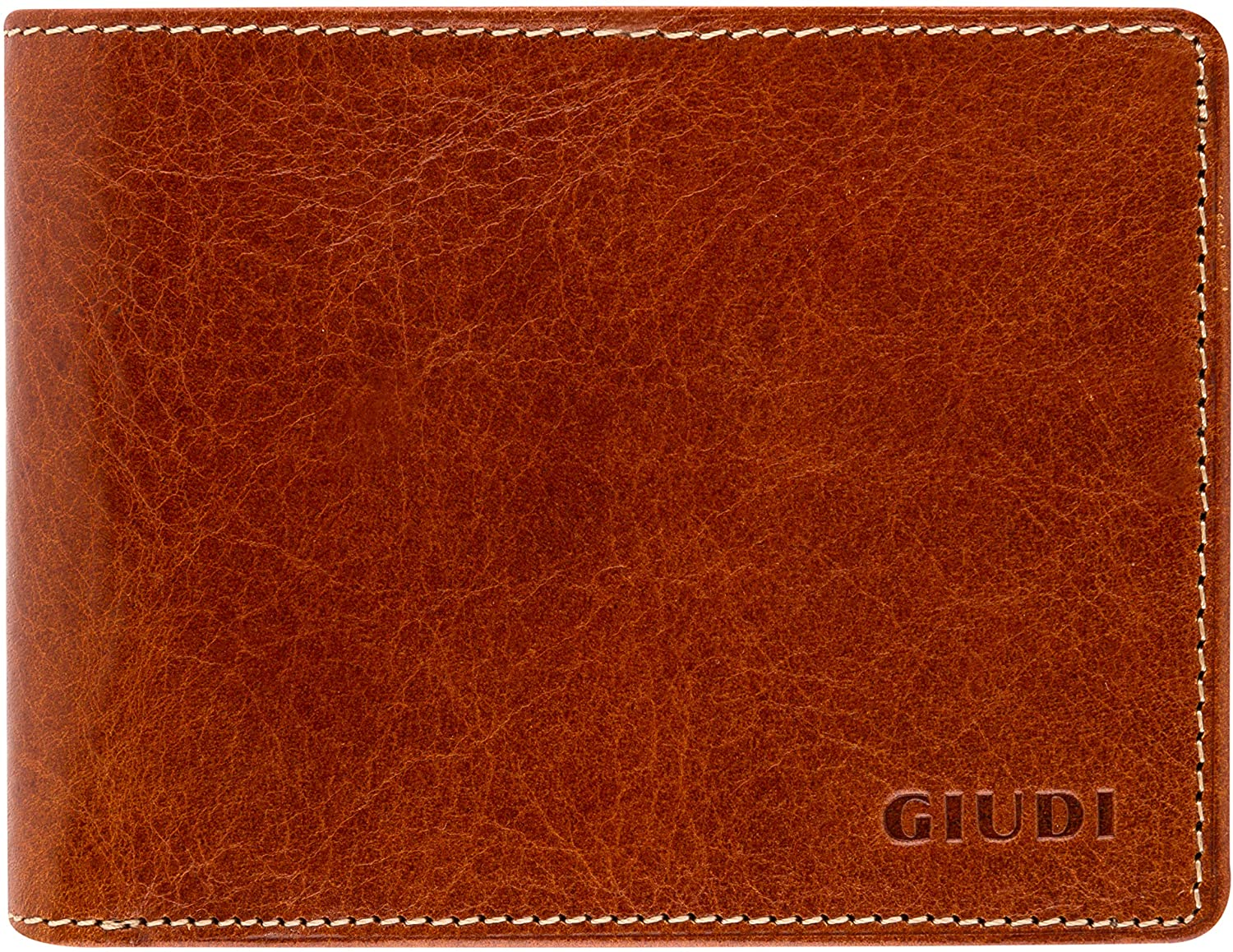 Giudi Men's Leather Wallet – Cow Leather Deluxe Wallet for Men – Made in Italy – Elegant Brown, Multiple Slots and Pockets – Slick and Lightweight Design – Perfect Luxury Gift for Men
