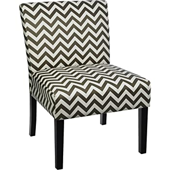 Red Hook Martina Contemporary Upholstered Armless Accent Chair - Grey Chevron