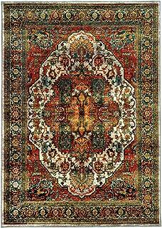 "Moretti Birani Area Rug 6382B Red Swirls Vines 6' 7"" x 9' 6"" Rectangle"