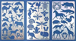 Aleks Melnyk #43 Metal Journal Stencils/Animals/Stainless Steel Stencils Kit 3 PCS/Templates Tool for Wood Burning, Pyrography and Engraving/Scrapbooking/Crafting/DIY
