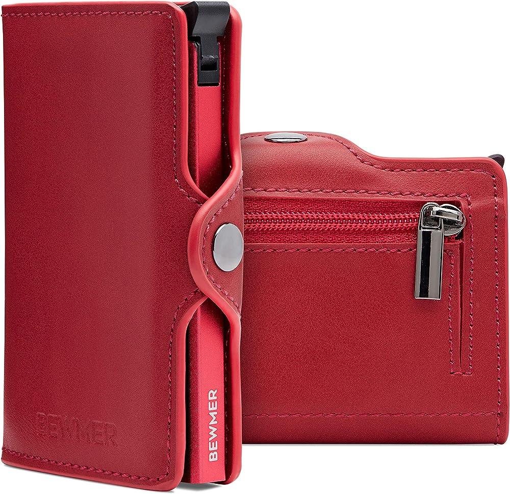 Bewmer, porta carte di credito, portafoglio rigido, fermasoldi e tessere, in alluminio e pelle