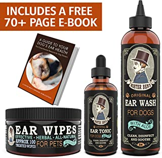 Mister Ben's Original Ear Care Kit + Wipes for Dogs - Most Effective Dog Ear Cleaners - Includes Tonic, Wash & Wipes - Fast Relief from infections, itching, Odors, Bacteria, Mites, Fungus & Yeast