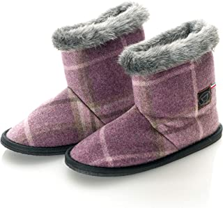 Womens Wool Tartan Checkered Faux Mink Fur Home Bootie Slippers