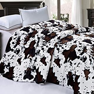 """Home Soft Things Soft and Thick Faux Fur Sherpa Backing Bed Blanket, Queen (86"""" x 92""""), Cows Flower"""