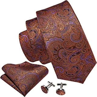 Barry.Wang Men Paisley Necktie Classic Silk Flower with Pocket Square Cufflink Tie Clip Set
