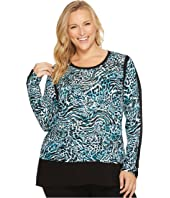 MICHAEL Michael Kors - Plus Size Big Cat Woven Combo Top