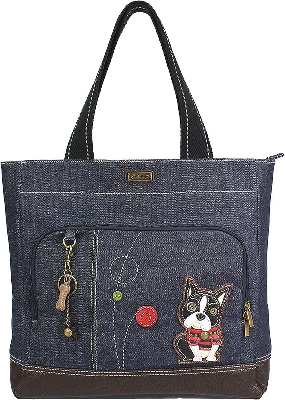 Chala Boston Terrier Pocket Tote Shoulder Bag