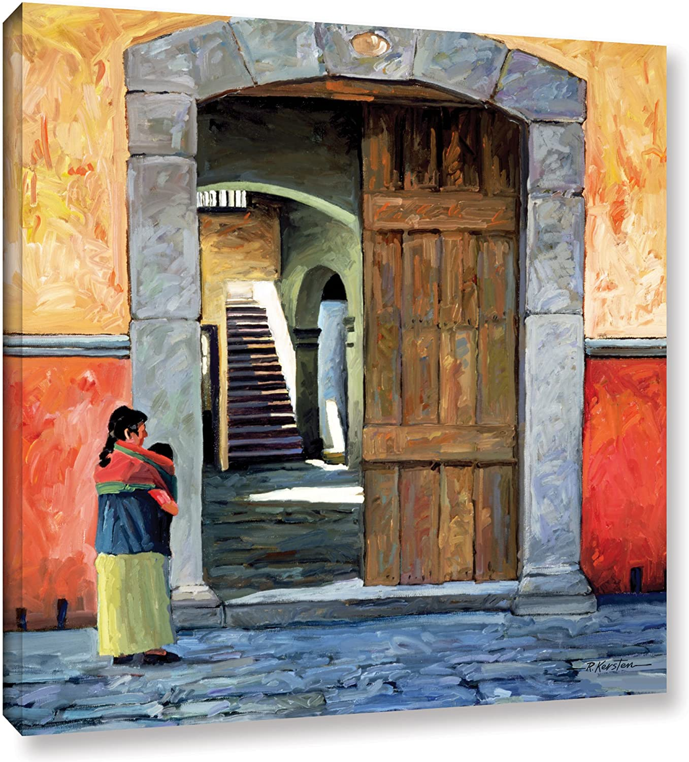 ArtWall Guanajuato Door Gallery Wrapped Canvas Art by Rick Kersten, 36 by 36-Inch