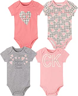 Baby Girls' 4 Pieces Pack Bodysuits