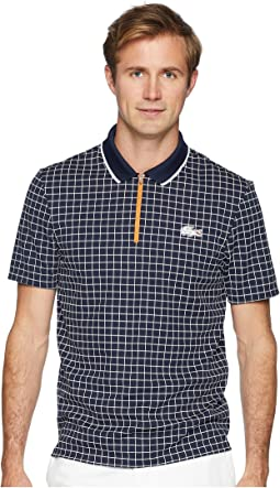 Lacoste Short Sleeve Pique Ultra Dry w/ Micro Check Print & Contrast Zipper Placket